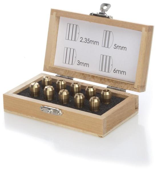 10 Präzisions Metallspannzangen in Holzbox